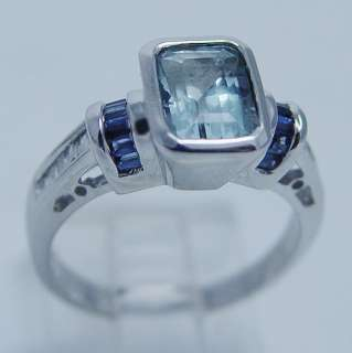 Jewelry 14K White Gold Aquamarine Diamond Sapphire Ring Hallmarked SBT