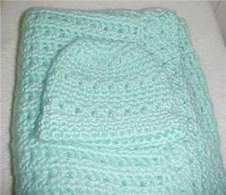 Hand Crochet Baby Blanket/Matching Hat Aqua 30x43 New
