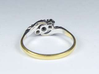 ANTIQUE ART DECO ENGLISH 18K GOLD 3 STONE DIAMOND CROSS OVER RING