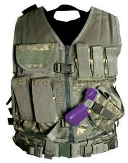 Camo ACU Military Ops LE MOLLE X Draw Gun Holster Tactical Vest