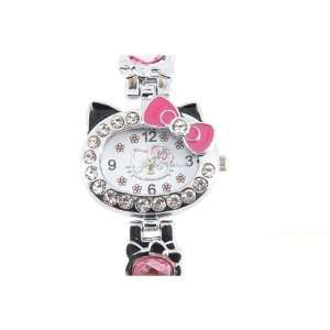 Cute Hello Kitty Crystal decorated Bracelet Watch Pink
