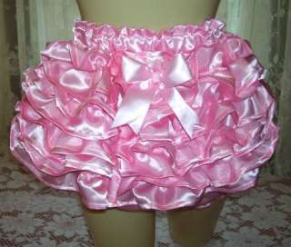 Adult Baby Diaper Cover Sissy Pink Satin New Pouf Rhumba Style Vinyl