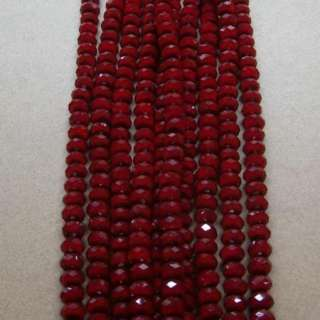 Porcelain Dark Red 6*8MM Crystal Rondelle Oblate Bead