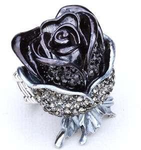Black swarovski crystal rose flower stretch ring 39