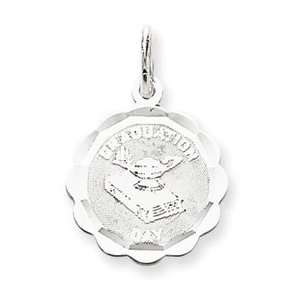 Sterling Silver Graduation Day Disc Charm Jewelry