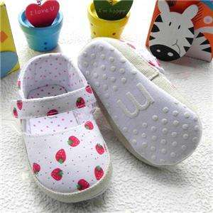 Cutest Cotton Strawberry Baby Girls Velcro Shoes 6 24m Us Size 3, 4