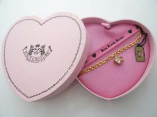 Juicy Couture Faceted Heart Banner Bracelet Goldtone Pink Stone