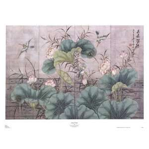 Lotus Pond (Chinese Screen) Poster Print