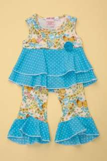 Baby Nay Vintage Butterfly Ruffle Top Pant Set New 5 6