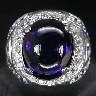 FASCINATING TOP ROYAL BLUE & WHITE SAPPHIRE 925 STERLING SILVER RING
