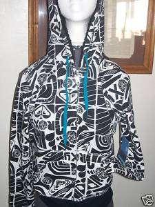 Womens/Jrs Roxy black/white logo/shapes hoodie new $40