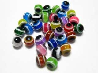 1000 Mixed Colour Acrylic Evil Eye Ball Round Beads 6mm