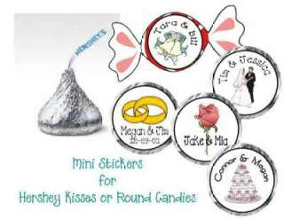 Mini Round WEDDING FAVOR Candy STICKERS Hershey Kisses