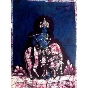 Hindu God Lord Krishna Indian Batik Tapestry Fabric Wall Decor Hanging