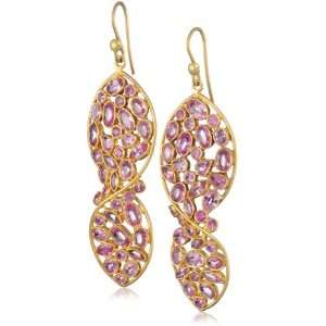 Sugar Buzz 18k Gold, 8.96 cts Rose Cut Pink Sapphire Twist Earrings