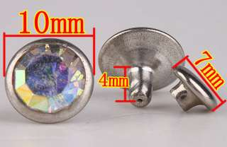 10mm Nickel Plated Glass Rhinestones Rivet Tack Studed BA326 6