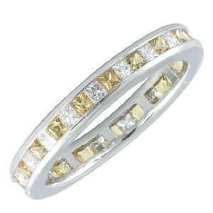 Princess Cut Diamond Ring w/ Yellow Sapphires   White Gold
