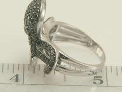 14k White Gold Black & White Diamond Octopus Ring
