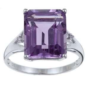 10k White Gold Emerald Cut Amethyst and Diamond Ring size 8 Jewelry