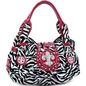 Rhinestone studded fleur de lis zebra Handbag w/ croco trim & belted