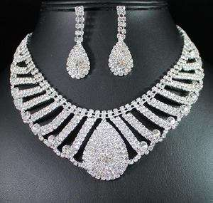 EGYTIAN CLEAR AUSTRIAN RHINESTONE CHOKER NECKLACE EARRINGS SET BRIDAL