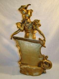 LG Antique FRENCH Bronze NEPSON ART NOUVEAU Figural LADY Statue