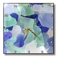 Blue and Seafoam Green Sea Glass   10x10 Wall Clock