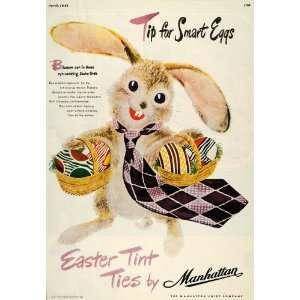Ties Manhattan Shirt Bunny Basket   Original Print Ad
