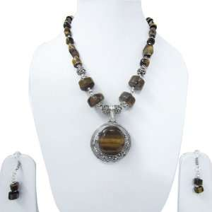 Trendy Silver Plated Metal Tiger Eye Necklace Earring Set