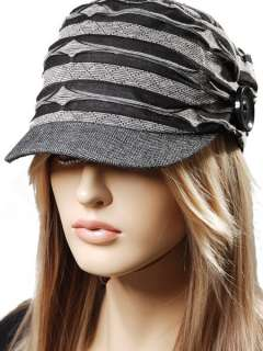 Womens Black Grey Winter Warm Knit EMO Visor Beanie Hat Cap