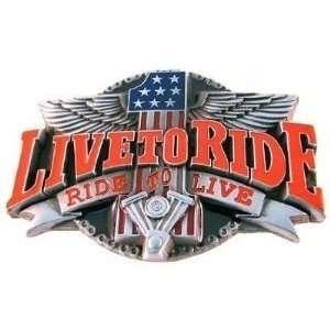 3D Live to Ride Motorcycle Belt Buckle Harley Davidson