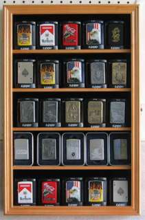 Zippo Sports Lighter Display Case with Hinged Glass door, Solid wood