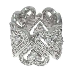 Size 10.5 925 Silver Up & Down Pave Heart CZ Band Ring Jewelry