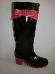 Kate Spade Black & Red Randi Rubber Rainboots boots 9 M