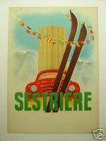 Sestriere Rallye Italy, 1950s; ORIGINAL event poster