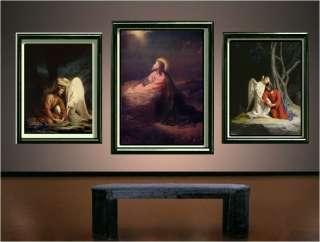 VINTAGE JESUS CHRIST GETHSEMANE EASTER CANVAS ART LARGE