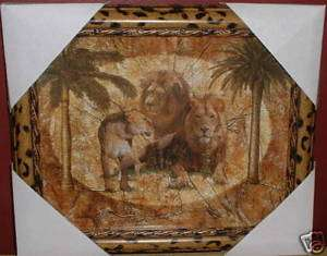 LION SAFARI FRAMED WALL ART PICTURE~JUNGLE CAT PLAQUE~LEOPARD ANIMAL