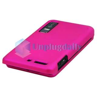 Pink+Purple Hard Case+Privacy LCD SP For Motorola Droid 3 XT862