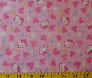 Hello Kitty fabric   Hearts   white Polka dots on blue/PINK   63 wide