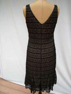 New York Comp. Black Lace on beige Cocktail Dress Sz S