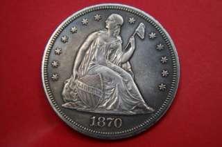ô¿ô) **** RARE **** 1870 CC SEATED LIBERTY DOLLAR   HIGH GRADE