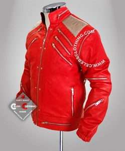 Michael Jackson Red Beat It Jacket in Real Leather