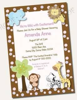 Printable Invitations JUNGLE BABY SHOWER BIRTHDAY monkey safari