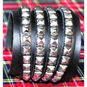 Steam Punk Silver Pyramid Stud Wristband Black Metal