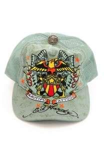 NEW NWT DON ED HARDY BEAUTIFUL TATTOOS EAGLE CAP TRUCKER HAT GREEN