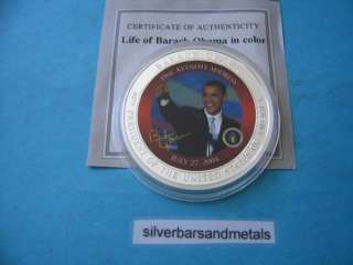 PRESIDENT OBAMA COLOR COPPER NICKEL COIN RARE SHARP