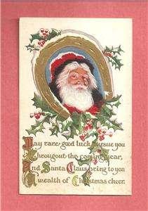 SANTA, HORSESHOE On Colorful Vintage CHRISTMAS Postcard
