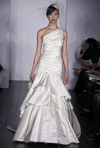Silk Taffeta Ivory One Shoulder New Couture Wedding Dress Gown
