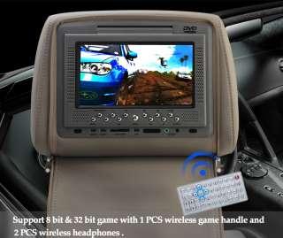 Black 2x 7 Inch Car Headrest DVD Player Radio TV Monitor+Headphones
