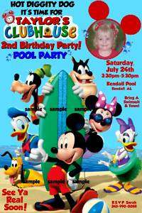 MICKEY MOUSE CLUBHOUSE Pool Party Birthday Invitations